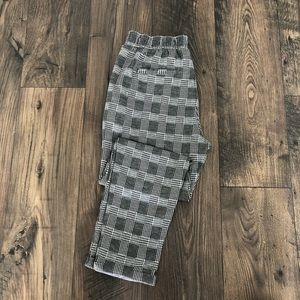 Houndstooth Plaid High Waisted Trousers Bottoms